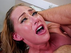 Sexy chick gags on a long cock after a horny massage