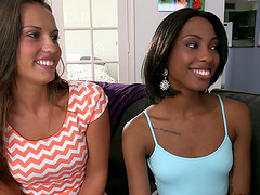 Three hot girls have fun in an interracial lesbian scene