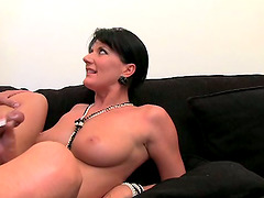 Brunette mom gets her vag fingered and fucked from behind