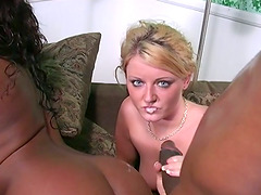 Lewd blonde gets fucked by a black stud in the presence of his wife
