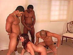 White Girl DP'd During a Wild Interracial Gangbang