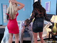 Hot babes share a guy's big dick in a hardcore threesome