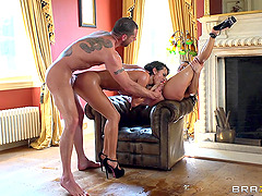 Two brunette bombshells get stunningly fucked in FFM threesome