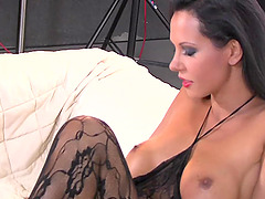 Laly vallade big tits brunette masturbating with huge dildo