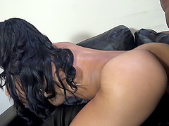 Horny babe in nylons gets massive black cock in pussy doggystyle