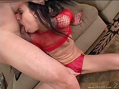 Superb brunette babe with small tits in fishnet getting banged doggystyle till she gets a facial cumshot