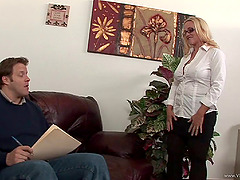 Tantalizing blonde milf with big tits enjoys getting slammed hardcore
