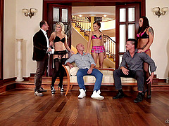 Three swinging couple swap partners and have some wild group sex