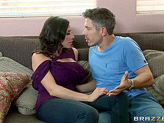 Milf slobbers on his dick and balls because she needs to fuck
