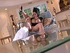 Very busty dark haired woman hooks up with her husband's friend