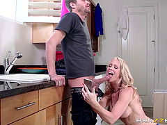 Simone Sonay sweats as she works hard to ride his cock