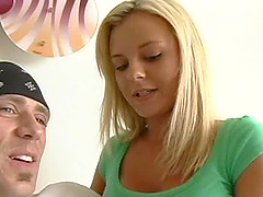 Pretty blonde with adorable big melons weathers hardcore throbbing with a giant cock