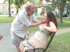 Chubby babe gets fucked by three dudes in the park