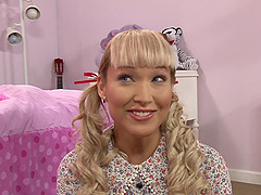 Super cute shemale in pigtails pounds his ass and gets laid