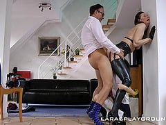 A British wife brings a coed home for her husband to fuck