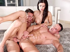 Bisexual pornstars fucking hardcore in a kinky mmf threesome