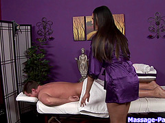 Russian masseur babe with natural tits makes a guy cum with a blowjob