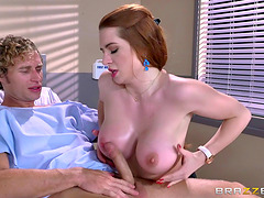 Athletic fucking of a hot redhead with amazing big tits