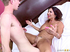 Sexy busty babe gets fuck and titfucked by machine 3
