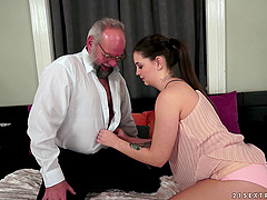 Old and Young sex with a grandpa fucking a hot ass gal