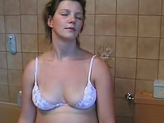 Amateur housewife is glad to impale her snatch on the long dick