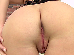 Hottie in black gets naughty on her shaved cunt making her get a worthy climax