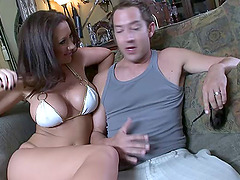 Pornstar Jayden James sucking dick and fucking in a bikini