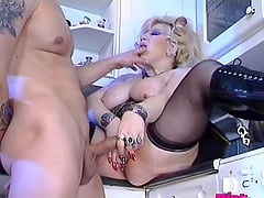 Fat and slutty housewife fucked on the kitchen floor