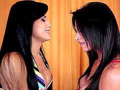 Big tits tranny chicks suck each other hard and have anal sex
