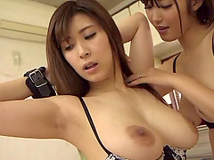 Pair of bootylicious Japanese ladies having fun with the sex toys