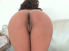 Sexy Ebony porn star gets her ass oiled and face cummed