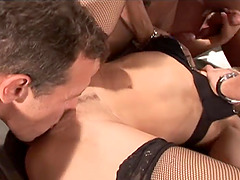 Captivating dame screaming while her pussy gets smashed hardcore in group sex