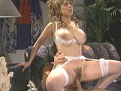 Big titty vintage chick with a nice bush takes a big cock