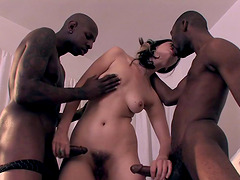 Cute white slut double penetrated by their black dicks