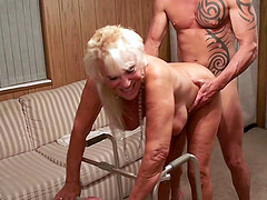 Granny bent over her walker and fucked hard from behind