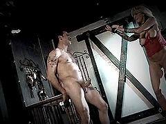 Fat ass slave being spanked then throbbed doggystyle in BDSM