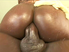 Black booty is slippery and wet for a good ass fucking