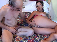 Exotic babe allows the experienced geezer to enter her inner depths