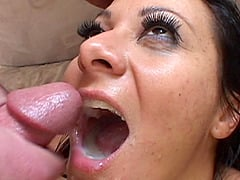 Attractive tanned girl getting one schlong per each of her holes