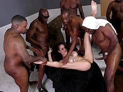Long black schlongs bringing the white chick a tremendous pleasure