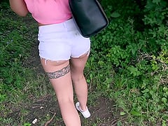 Taking a teen cutie into the woods to fuck her shaved pussy