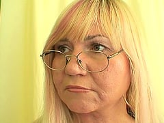 Hot blonde teacher Kirsi rides on a massive member