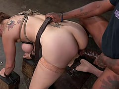 Saucy redhead cutie gets nailed hard by hung stallions