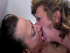 Sexy babe with a colorful hair and her mentors going full-lesbian