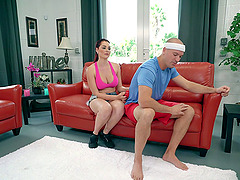 Oiled sex goddess Skyla Novea is ready to get shagged on the red couch