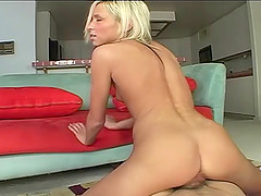 Skinny blonde wench Kacey rides on a massive member