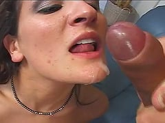 Big tits cowgirl swallowing cum after hardcore smash in mmf porn