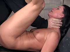 Beautiful sex slave ravished by her masters during a BDSM game