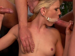 Stunning blonde sex goddess has a blast with two insatiable men