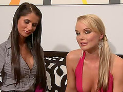 Nessa Devil and Silvia Saint kissing and fondling each other